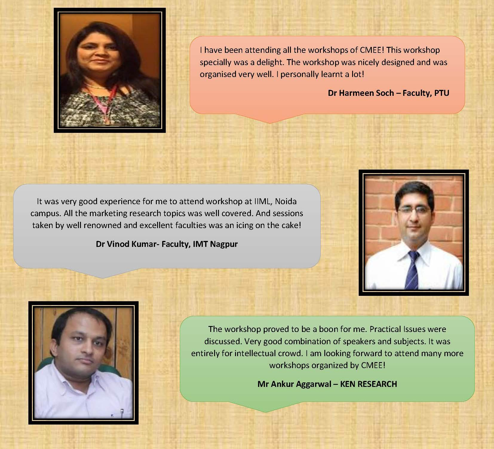 Feedback received from Academicians of Workshop on Teaching Marketing Reseach